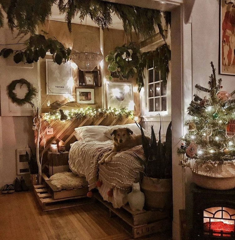 Elegant Bohemian Bedroom Holiday Decorating