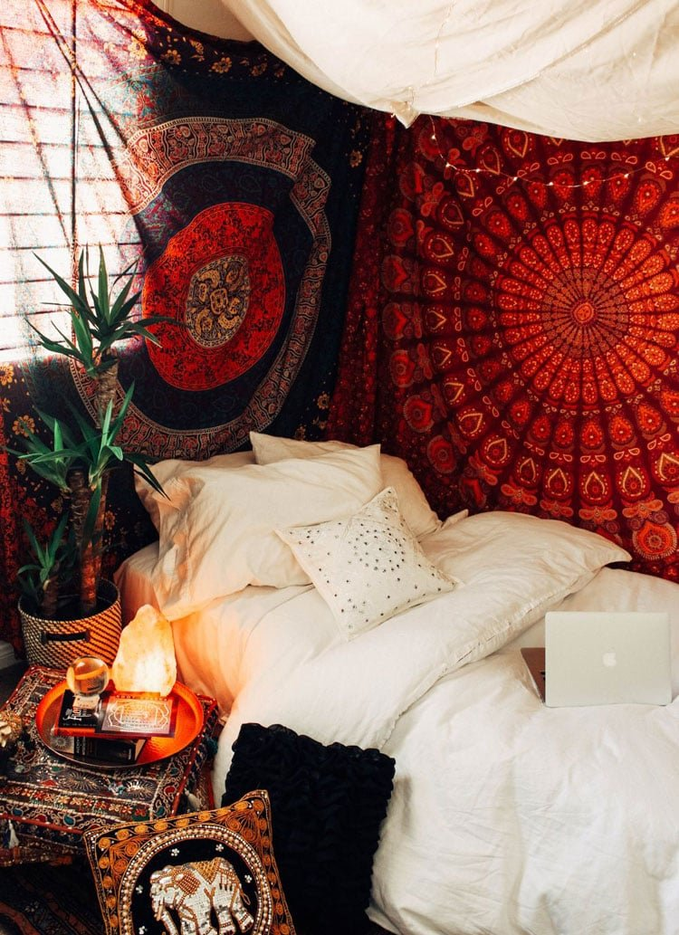 Red Accents and White Bohemian Theme Room