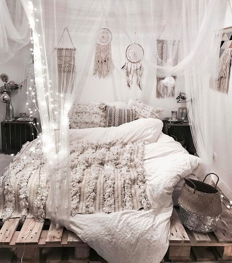 White Bohemian Bedroom Decor