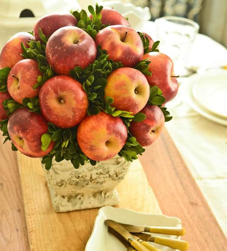 Beautiful DIY Fall Centerpiece with Apples and Vase