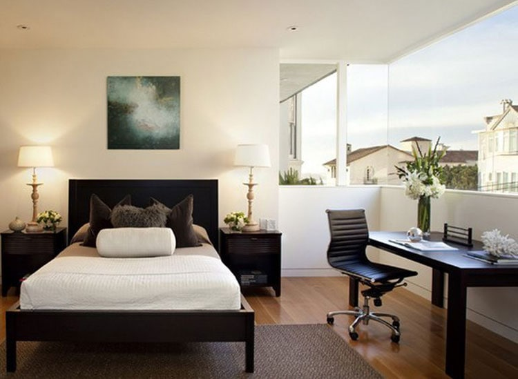 Bedroom with Sleek Bed, Chair and Desk Design