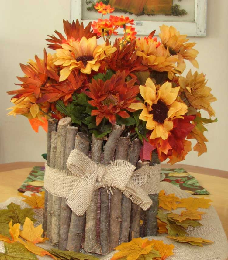 Branch Vase with Fall Flowers