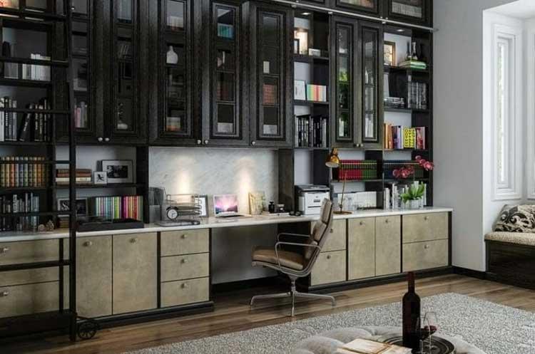 Built-In Shelves Provide A Convenient Workspace
