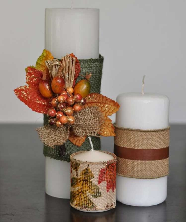 Burlap-Wrapped Candles