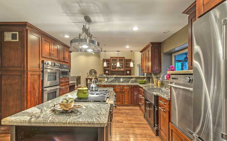 Classic Rustic Kitchen Design with Modern Stainless Appliances
