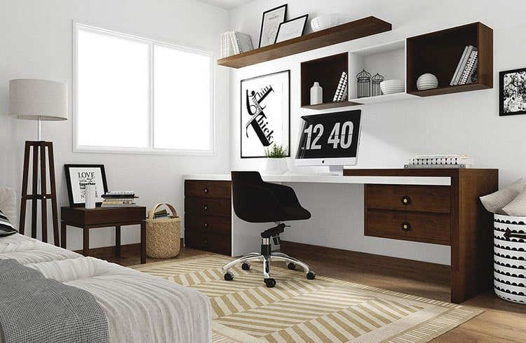Classy Table, Chair and Shelving For Home Office in Bedroom