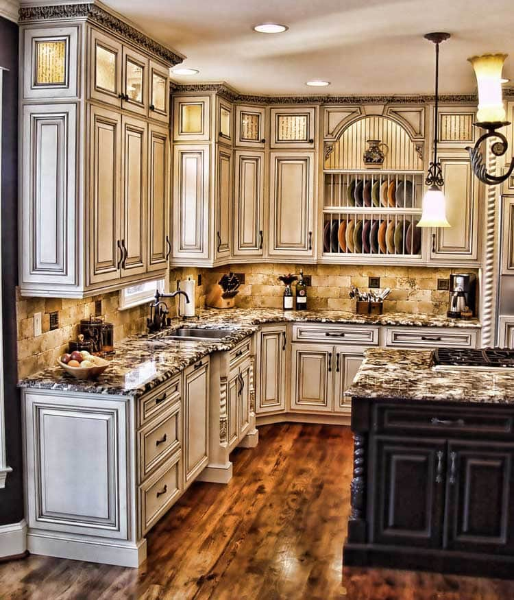 Classy White Rustic Design Kitchen with Black Island and Marble Tops