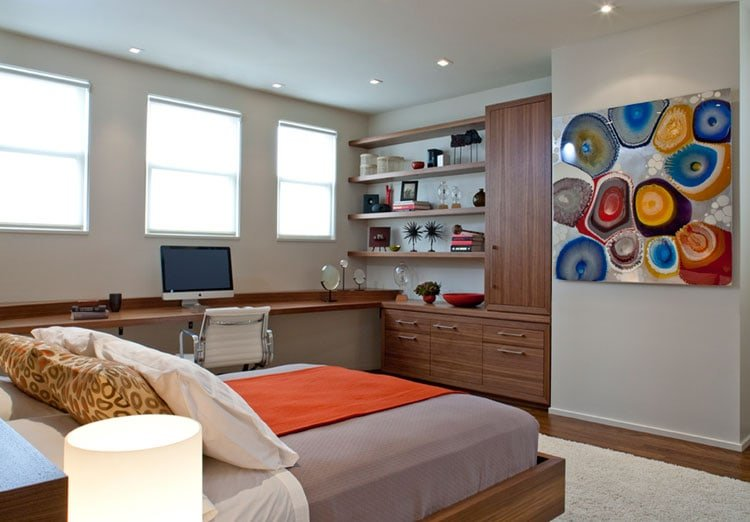 Combine Open Shelving with Tall Cabinets In A Guest Room