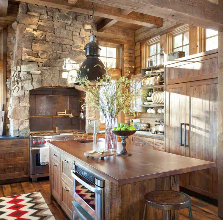 Custom Wood Cabinets in Country Style Home