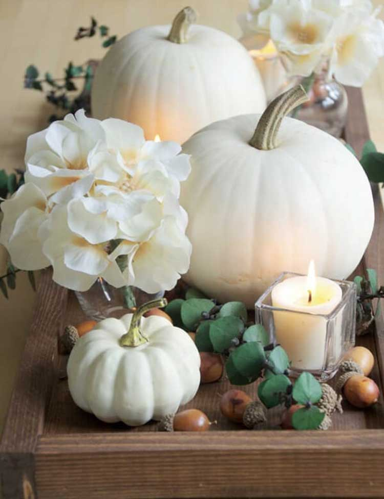 Cute Green and White Autumn Centerpiece