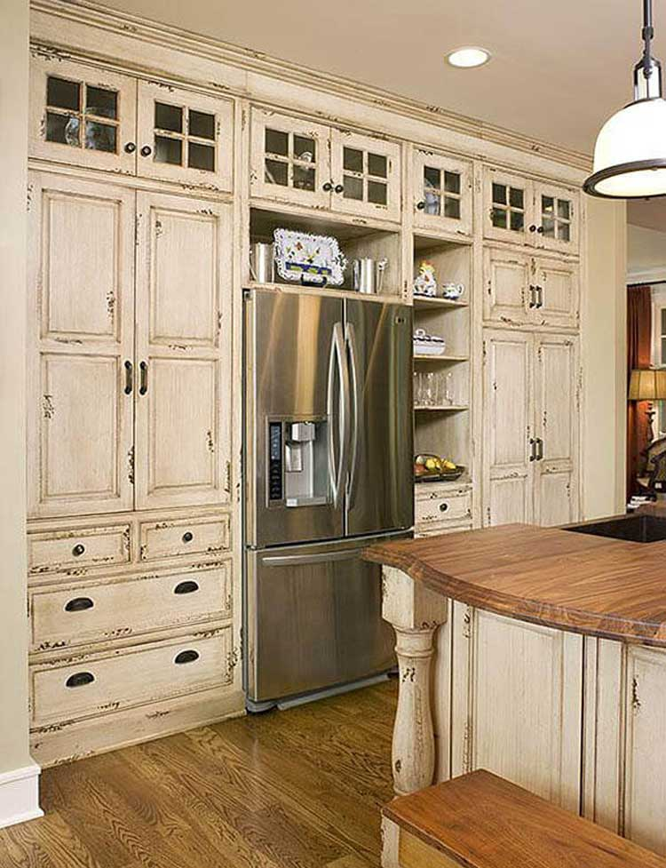 Distressed Built-In Cabinets