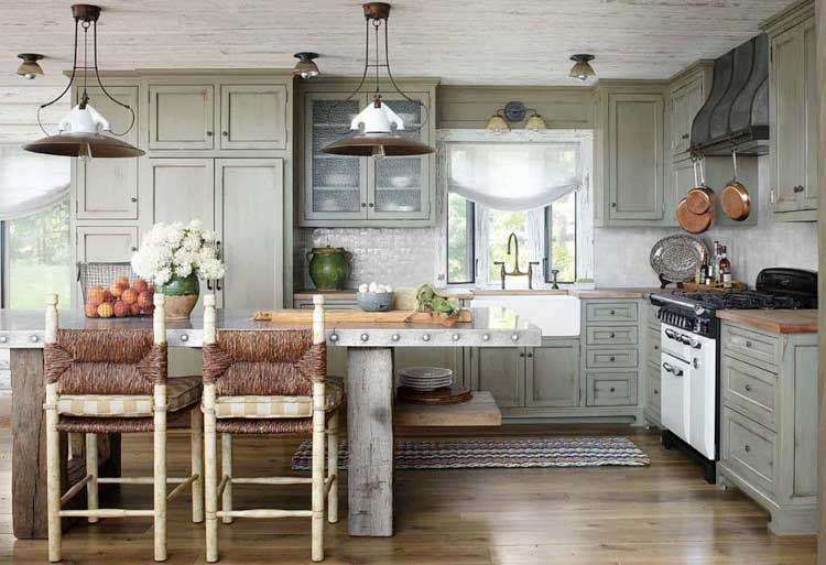 Distressed Chalk Paint Kitchen Cabinets