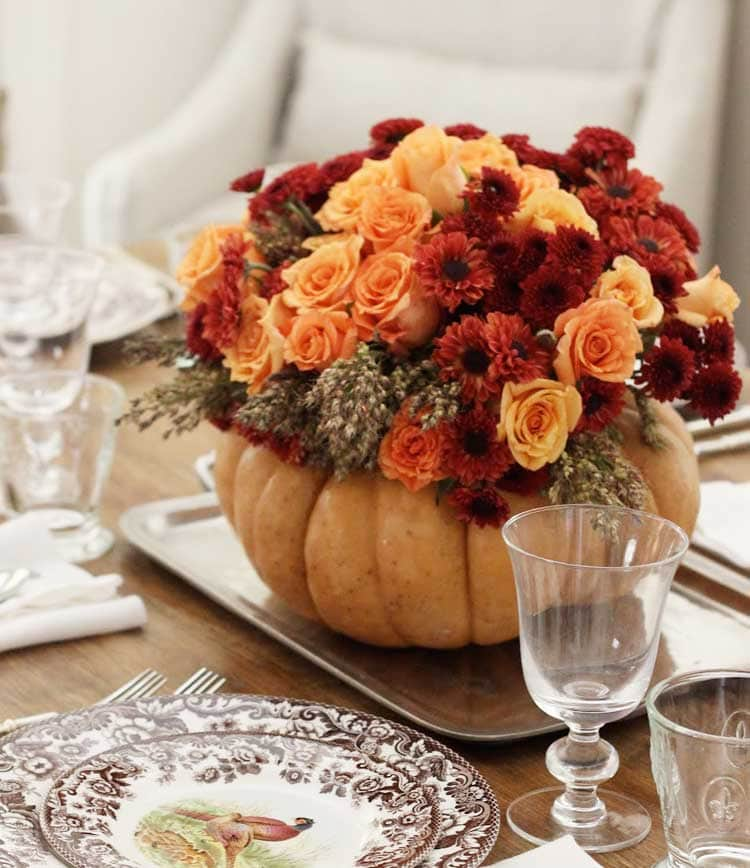 Fall Florals in a Pumpkin Vase
