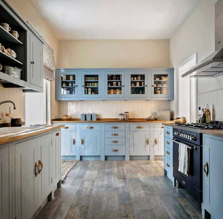 Freshen Up Vintage Blue Wood Cabinets