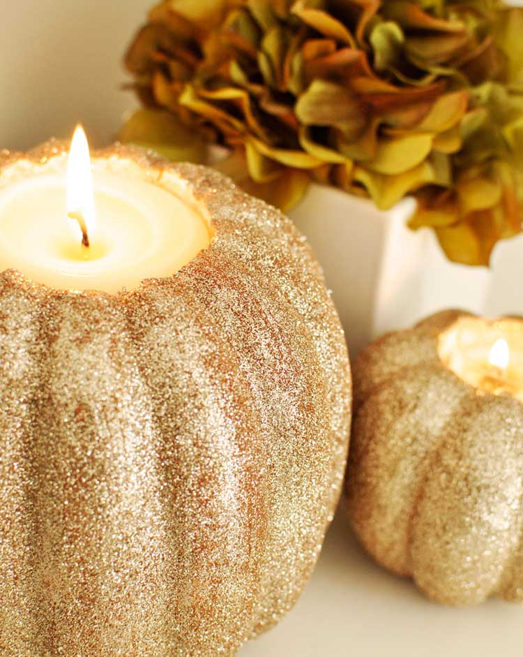 Gold Glitter Gourd Candle Holders