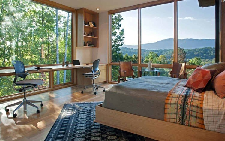 Gorgeous Home Office Bedroom Design with A View