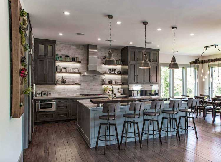 Grey and Blue Open Concept Rustic Kitchen