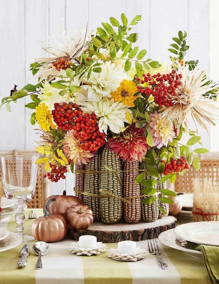 Homemade Corncob Flower Pot Centerpiece Decor