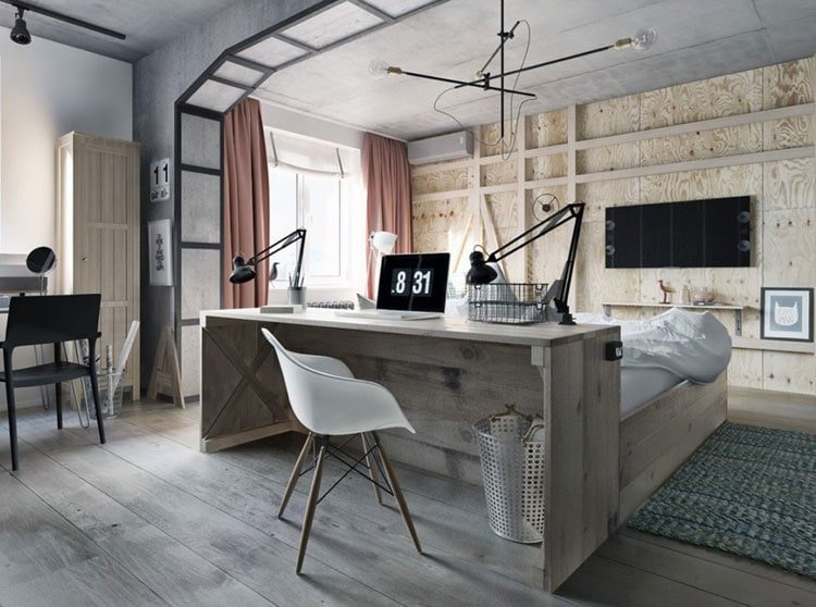Innovative Bedroom Office Combo with Clean Design