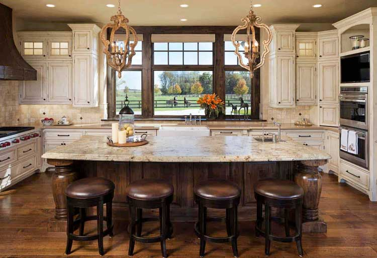 Large-Scale Kitchen Cabinets Fill A Large Room