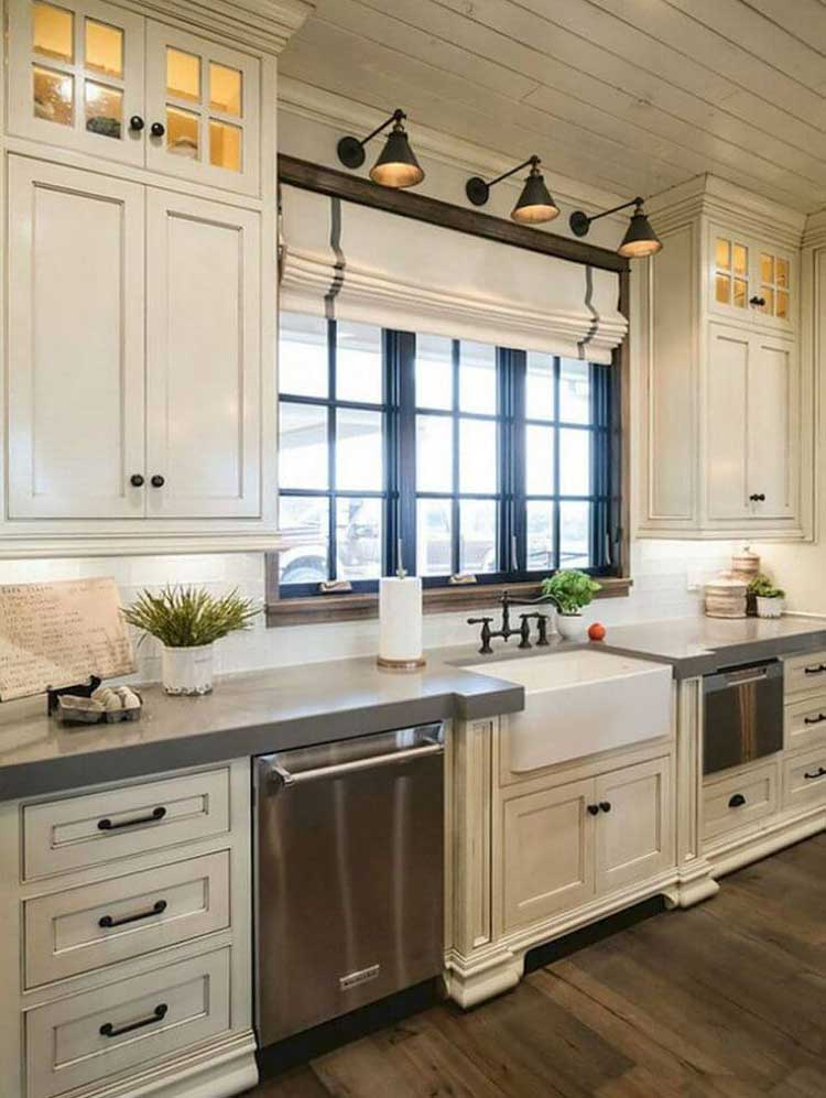 Lighted Upper Cabinets Have Old School Charm