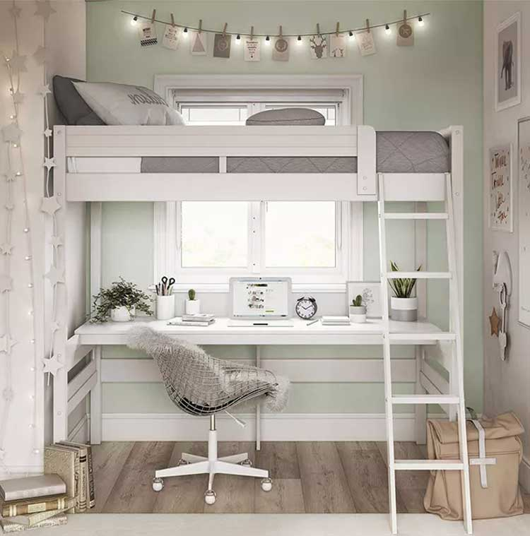 Loft Bed in Spare Bedroom with Home Office Desk