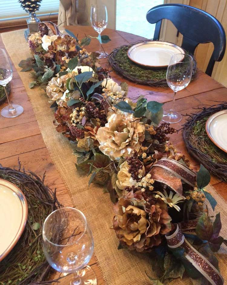 Long Rustic Table Runner Centerpiece