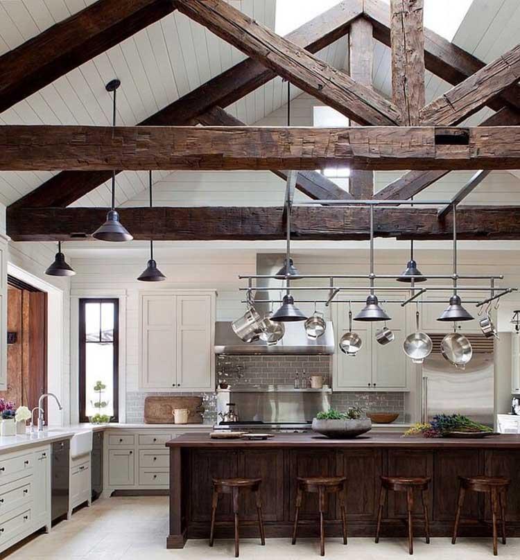 Modern White Kitchen Cabinets with Beautiful Wood Island