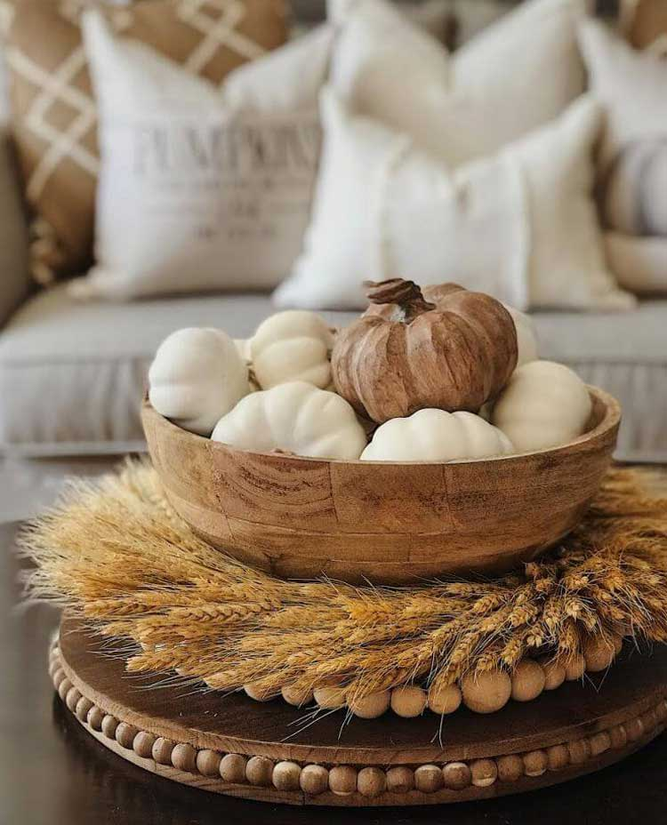 Natural Rustic Centerpiece with Faux Pumpkins