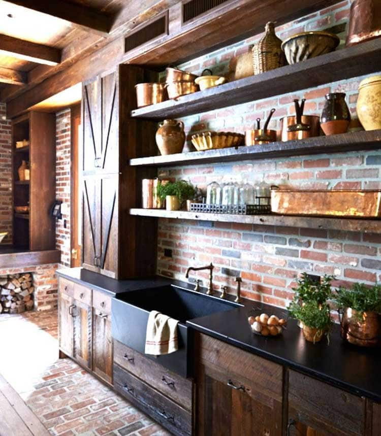 Open Wood Shelving Cabinets For Rustic Style Homes