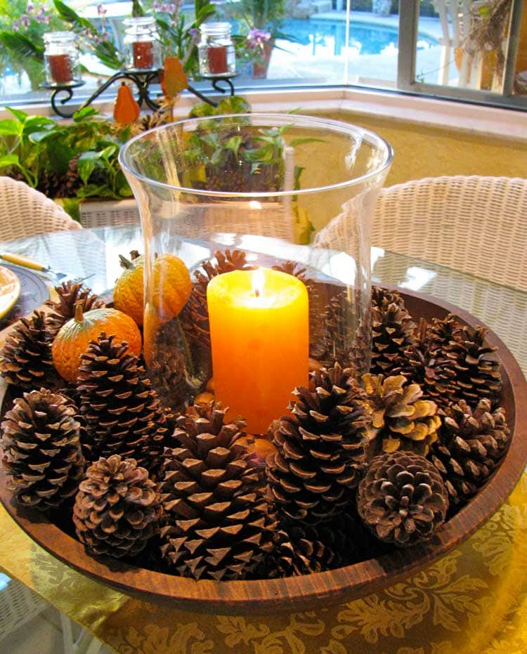 Pinecones and Candle Centerpiece