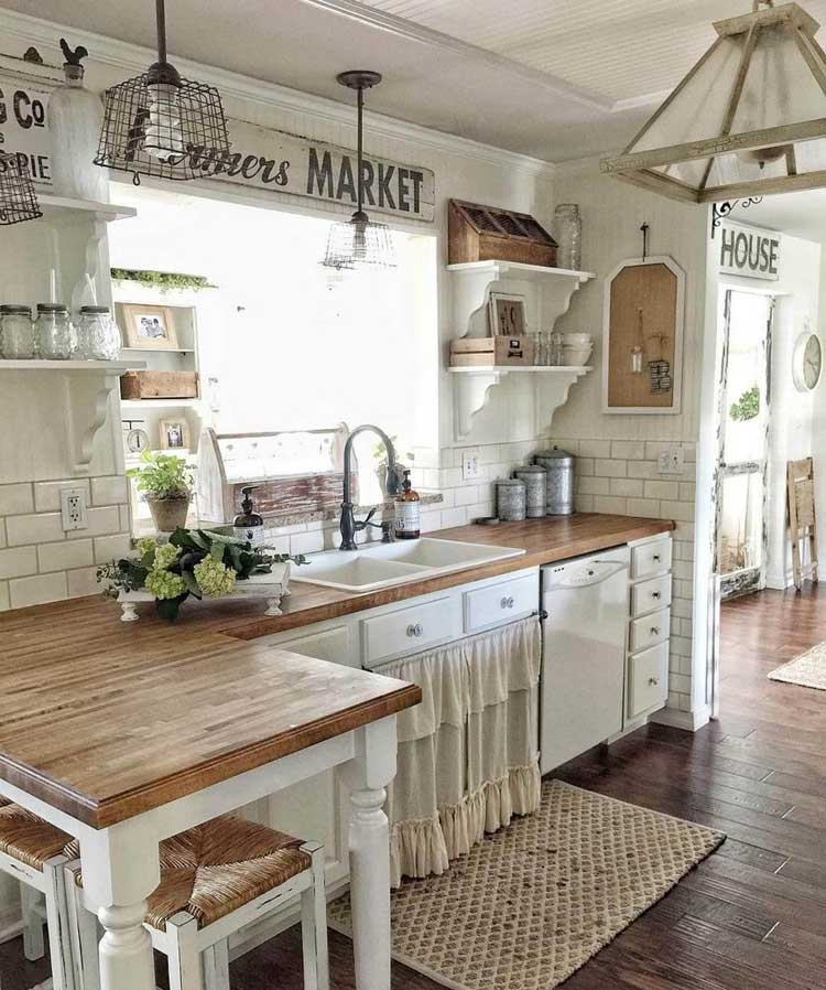Rustic Farmhouse Style Kitchen with White Wood Cabinets