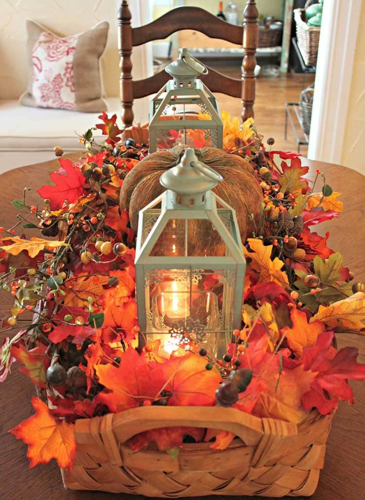 Rustic Lantern Centerpiece with Leaves and Gourds