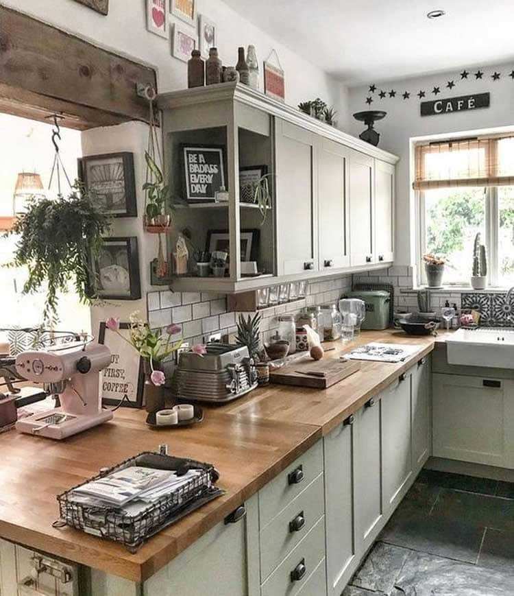 Sage Green Rustic Kitchen Cabinets