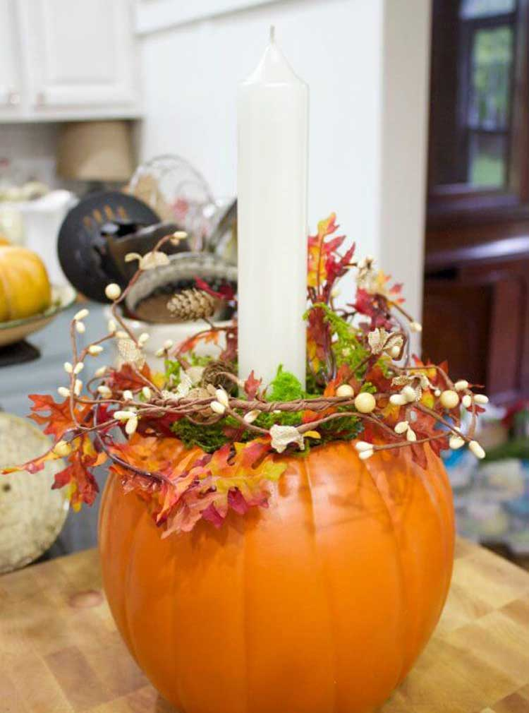 Simple Easy DIY Pumpkin Candle Holder