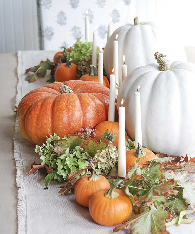 Simple Pumpkin Display with Candles