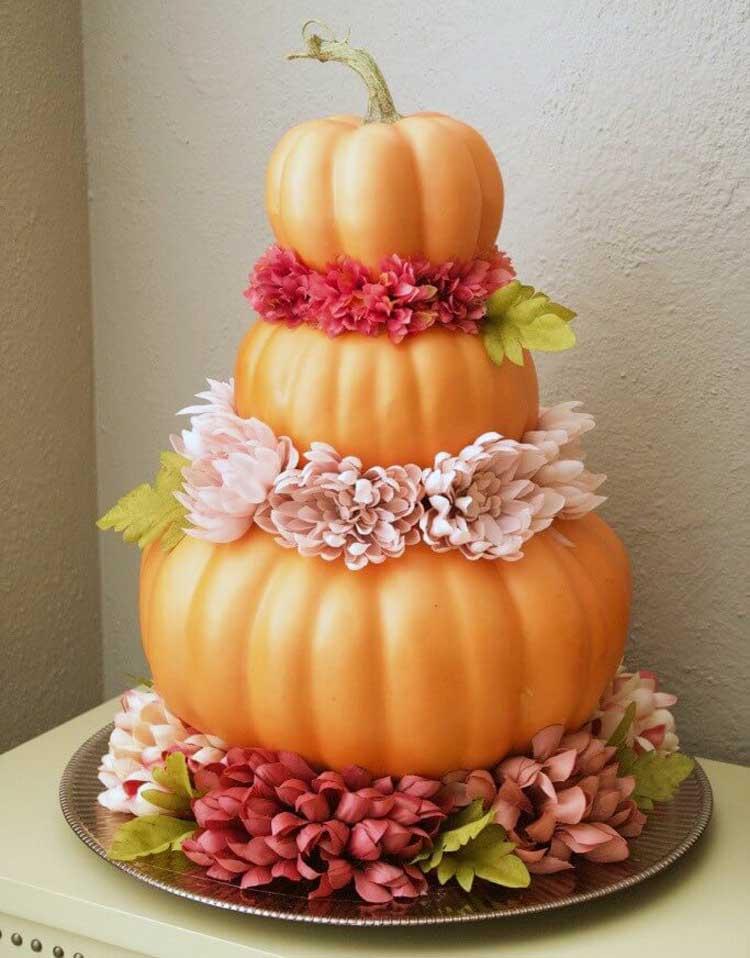 Three-Tiered Pumpkin Centerpiece
