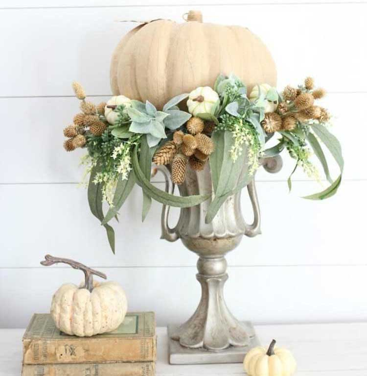 Urn with Pumpkin and Foliage