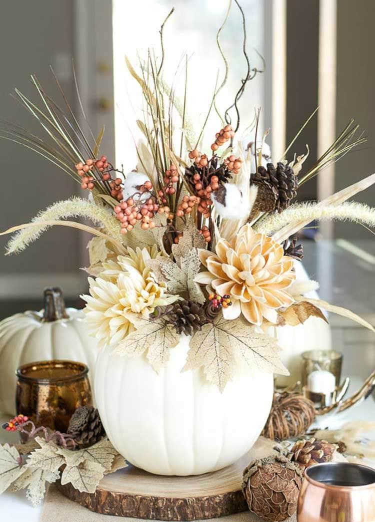 White Pumpkin Vase Centerpiece