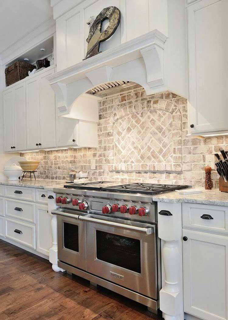 White Rustic Style Cabinets with Brick Wall