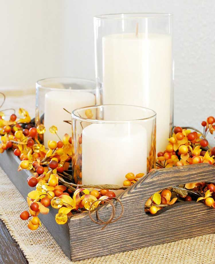 Wooden Tray with Pillar Candles and Colorful Fall Berries