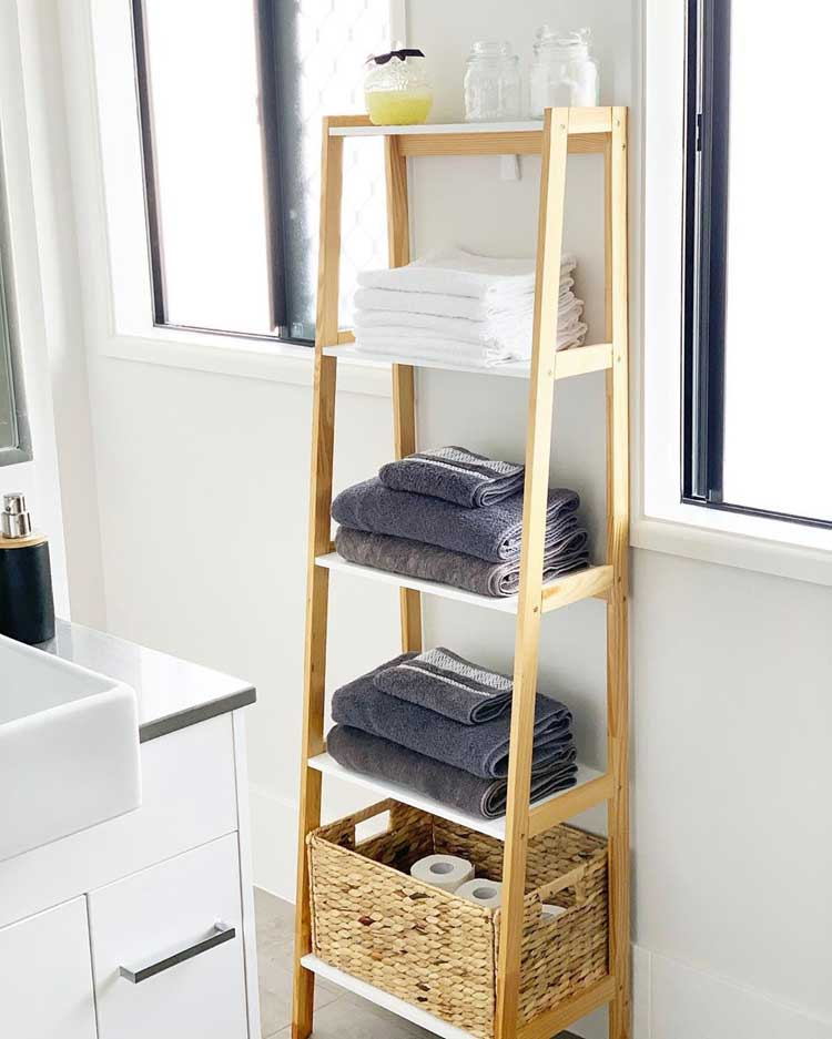 Add Baskets To Ladder Shelving