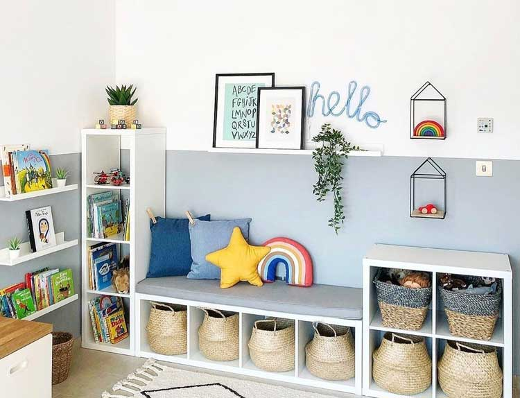 Adorable Wall Shelves For Toys with Bench and Book Shelf