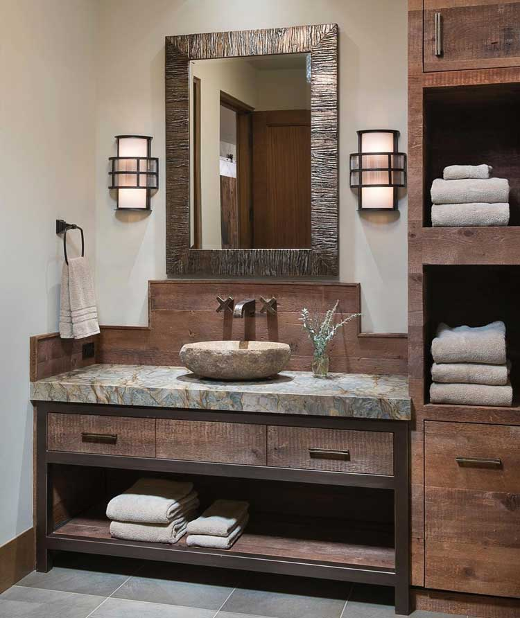Asian Inspired Bathroom Decor with Open Storage