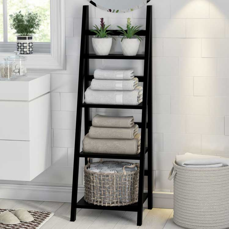 Bathroom Ladder Shelf For Towel Storage