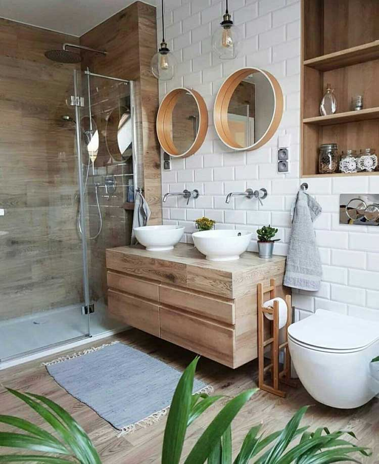 Beautiful Bathroom Design with Wood Vanity and Recessed Shelving For Storage Space