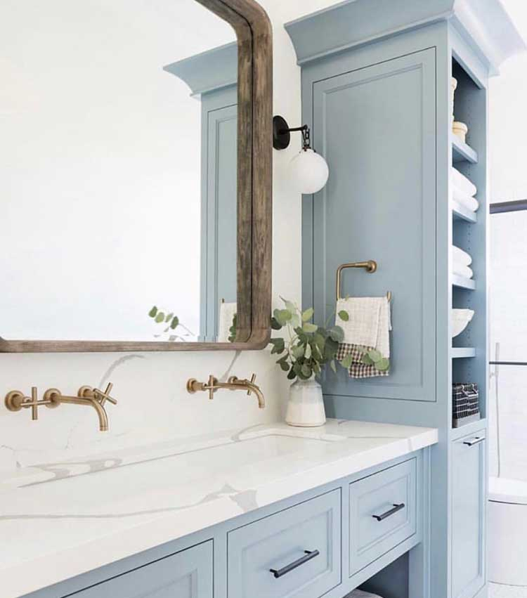 Charming Light Blue Rustic Built-In Cabinets