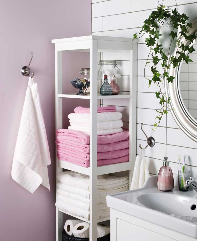 Colorful Towels Pop Against An Understated Shelf