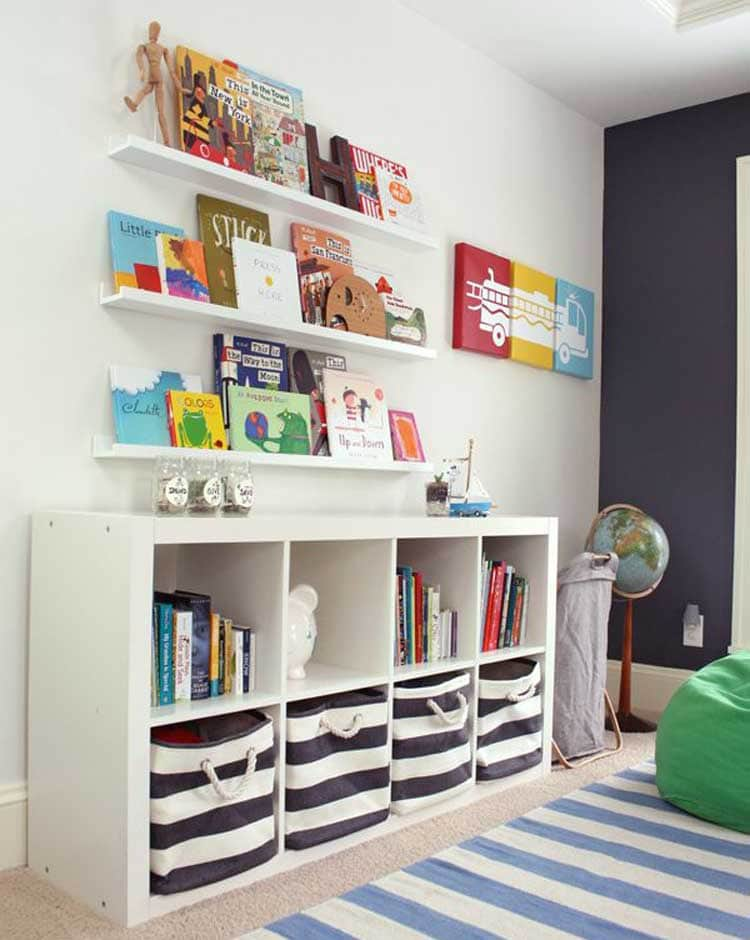 Combine Open Shelving with Cube Storage For Toy Organizer