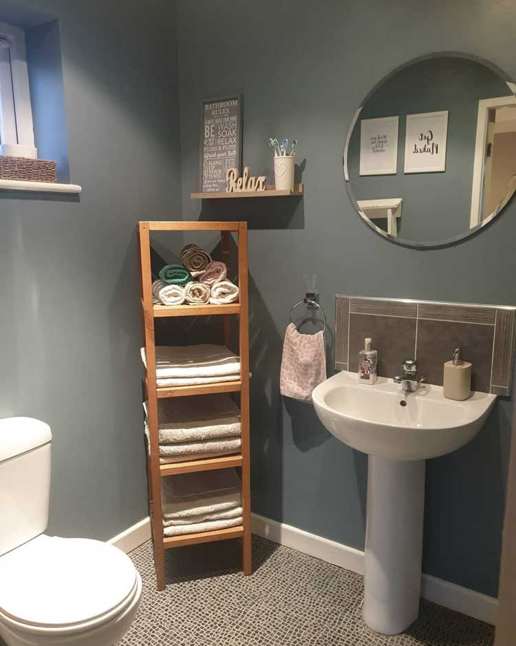 Convenient Corner Storage In Small Bathroom Area